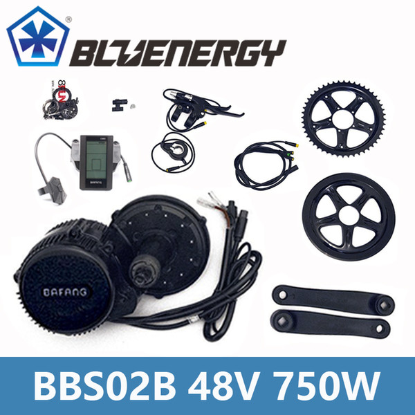 BBS02B 48V 750W 8fun Bafang Mid Drive Motor Kit With Gear Sensor 6V Light Cable Ebike bicycle Conversion Kit Full Color Display