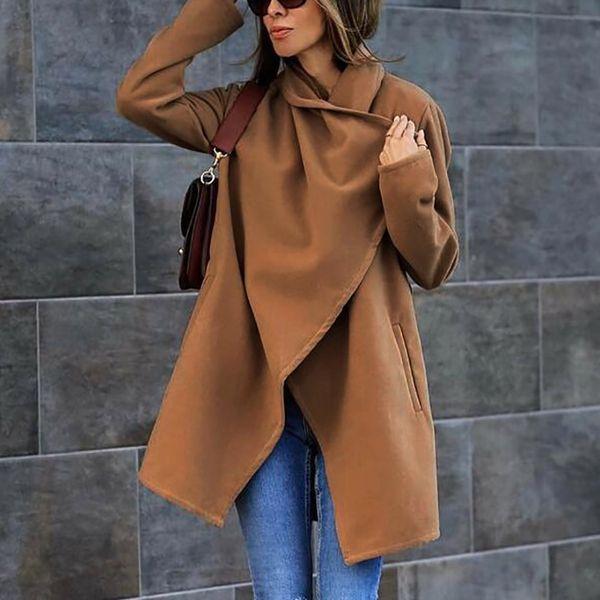 Cardigan Slim Wool Blend Coat Donna Manica lunga Turn-down Collar Outwear Jacket Autunno Inverno Moda Overcoat con cintura 6Q2266