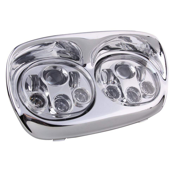 Motorcycle Headlight Dual LED Adaptive Motorbike Headlight Replacement Projector Headlamp for Harley Road Glide Light