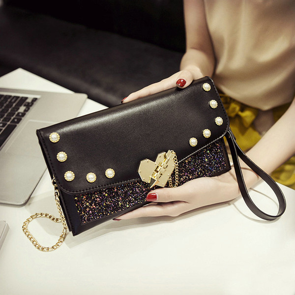 QIAOBAO Evening Bags Women Clutch Bags Evening Clutch Wedding Bridal Handbag Pearl Beaded Handbags Fashion Rhinestone