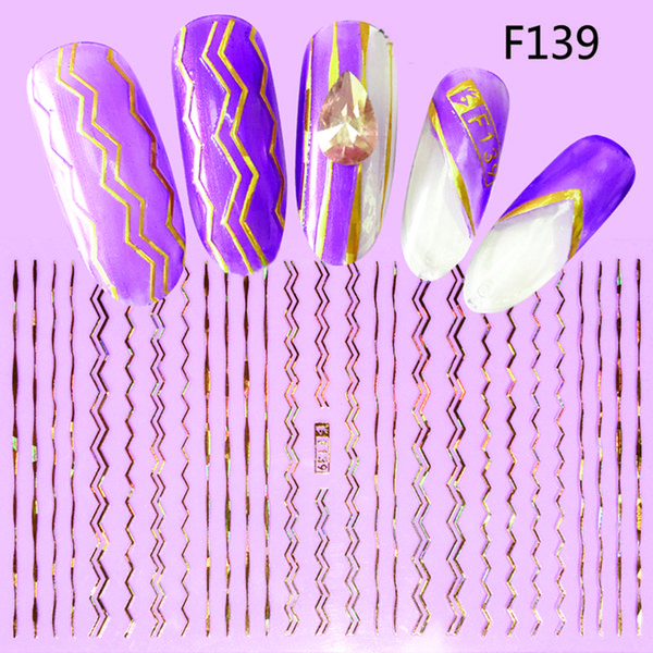 1 Sheets Gold Silver Stripe Tape Line Nail Glitter Designs 3D Nail Art Adhesive Sticker Laser DIY Beauty Foil Decal TRF137-144