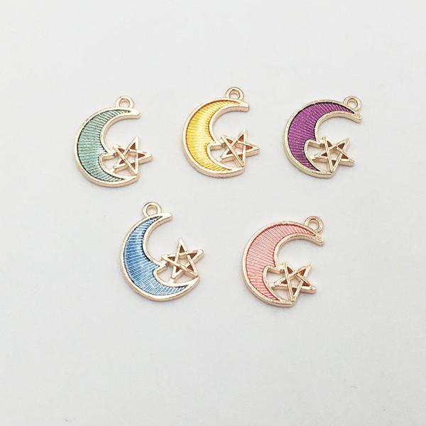 30pcs/lot Wholesale Star Crescent Moon Enamel Metal Charms Alloy Oil drop Pendant For DIY Jewelry Bracelet Necklace Makings 19*15mm