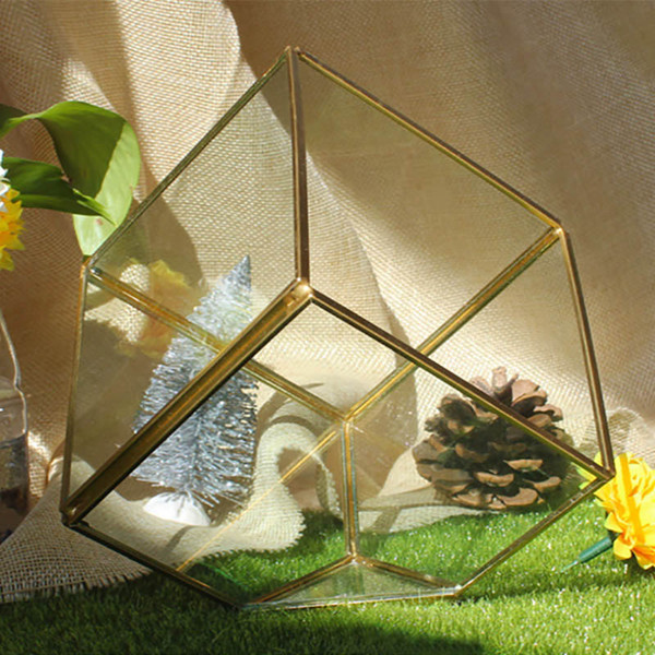 New Garden Miniature Glass Terrarium Geometric Diamond Desktop Garden Planter For Indoor Gardening Home Decor Vases SWX9-672