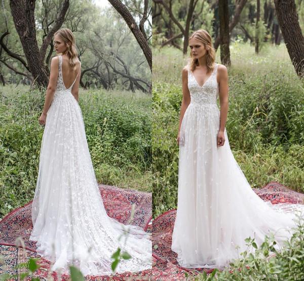 Discount Romantic Limor Rosen 2019 Lace Wedding Dresses Deep V Neck Sheer Straps Vintage Garden Beach Bridal Gowns Bohemia Wedding Gowns Wedding