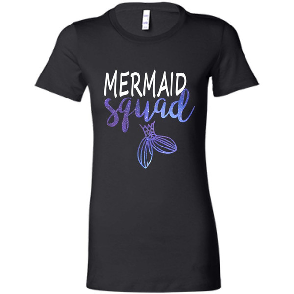 Mermaid Squad Mermaid Birthday Party Black , Navy T-shirt Womens Printed T Shirt Men Cotton T-shirts New Style Animal