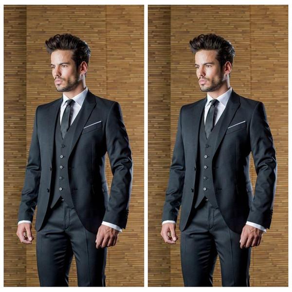 Elegant Black Custom Made Mens Ternos De Casamento Pico Lapela Slim Fit Groomsmen Smoking Terno Partido Formal Barato (Jaqueta + Calça + Colete)