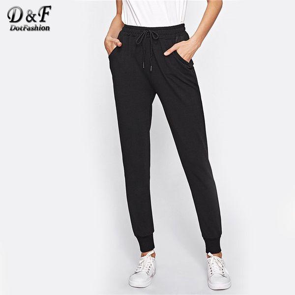 Pantaloni sportivi fitness Dotfashion con coulisse in vita 2018 Autunno pantaloni a vita bassa neri a vita media pantaloni lunghi da taschino