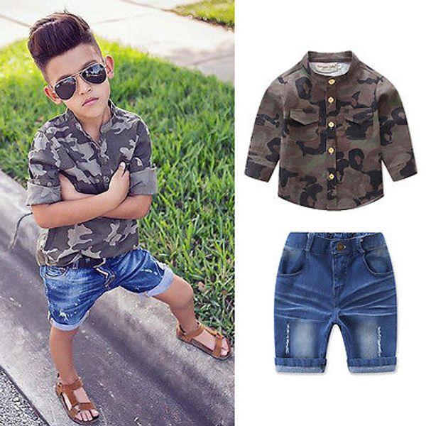 Kids Long Sleeve Baby Boy Camouflage T-shirt Shirt+Jeans Shorts 2pcs Outfits Set