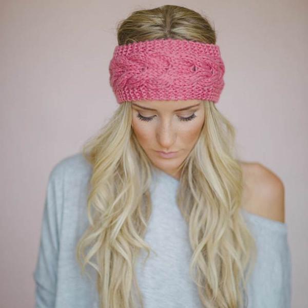 2018 Fashion Hair Knitted band Knit Women Baggy Beanie Winter Hat Ski Slouchy Chic Cap Skull Sports banda para el cabello 23 colores.