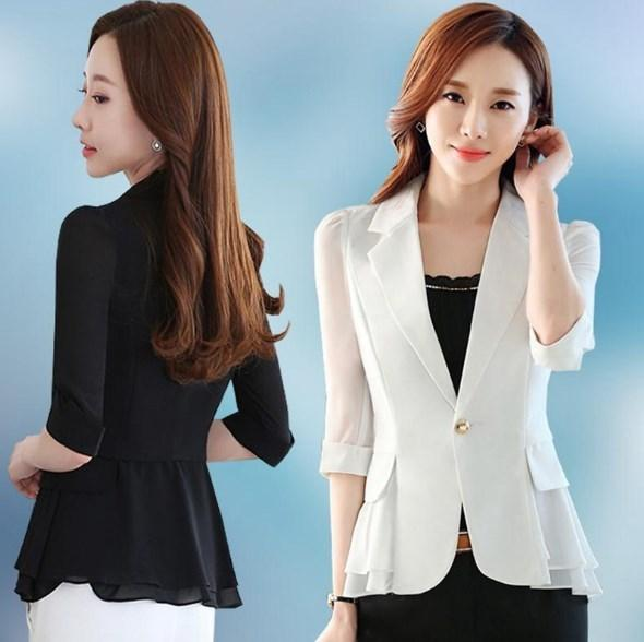 2018 Short Style Female Sommer Blazer Frauen Slim Fit Peplum Anzug Jacke Kurzarm Chiffon Blazer Mäntel Schwarz Blau Weiß Rosa