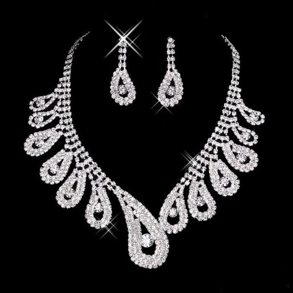 15042 vendita calda a buon mercato da donna da sposa da sposa con strass collana orecchini set di gioielli per gioielli da sposa da festa