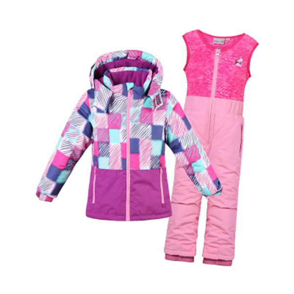 Children Boys Girls Ski Suits Waterproof Windproof Hooded Jackets and Pants Hot Kids Ski Snowboard Bidding Children's Clothing