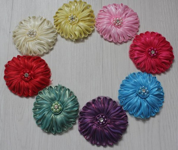 "30pcs 2.5"" polyester pearl center tulle mesh fabric flower for girls hair accessories,fabric flowers for girls headbands,diy flower supplies"