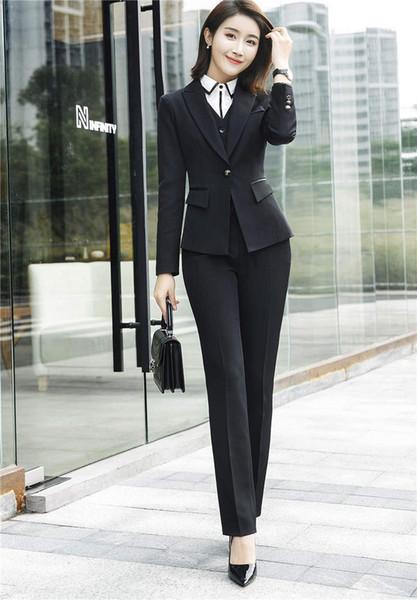 donnatang240965 / Moda para mujer, ropa de trabajo profesional, traje formal, chaqueta de manga larga y pantalón para mujer, traje de oficina, ropa de oficina