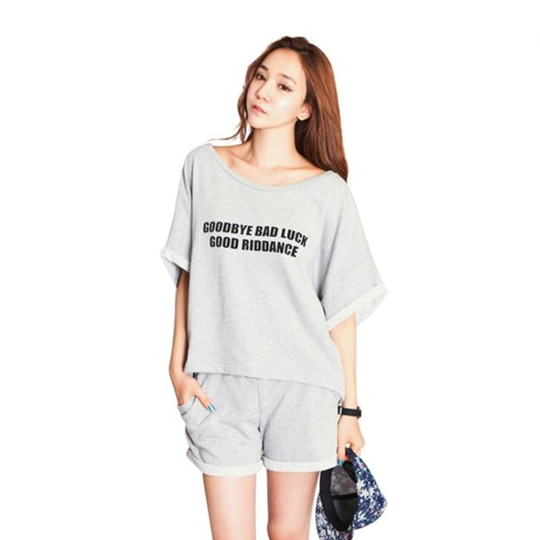 d7a4d5065a Wholesale- Summer Women Cotton Loose Pajamas Sleepwear Sets Tops T  Shirt+Shorts Nightwear M