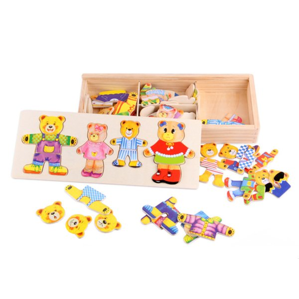 Model Building Baby Bricks Bear Toys Margaret Lynx Blocks Wooden Puzzle Dress Up Game Child Educational Toy for Children