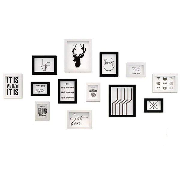Multi Picture Photo Frame Set,Home and Wall Decorations (Color : Black and White)