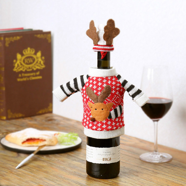 Woolen Cartoon Deer Weihnachten Rotwein Flaschenabdeckung Mantel Cap Festival Geschenk Tasche Weihnachten Feier Versorgung Tisch Desktop Weihnachtsschmuck