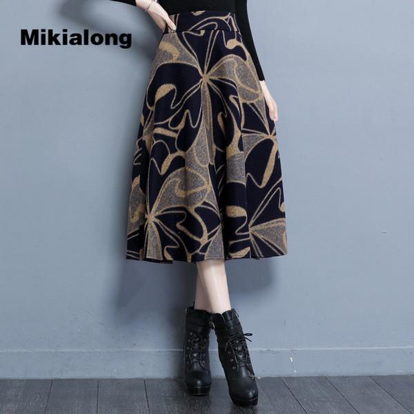Mikialong 2017 Winter Long Skirts Women Korean Zipper Polka Dot Wool Skirt Ladies High Waist A Line 4XL Plus Size Skater Skirt