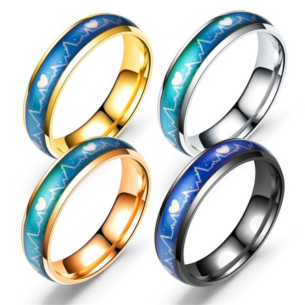 Factory direct selling fashion lovers titanium ring color ring feeling, temperature ECG, men and women Ring Rings Wholesale
