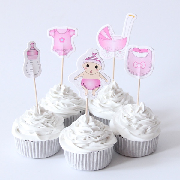 Baby Shower Boy Decoracion.Compre 20 Unids Baby Shower Cupcake Toppers Selecciones Baby Shower Boy Girl Kids Birthday Party Favors Decoraciones Suministros Cupcake Toppers A