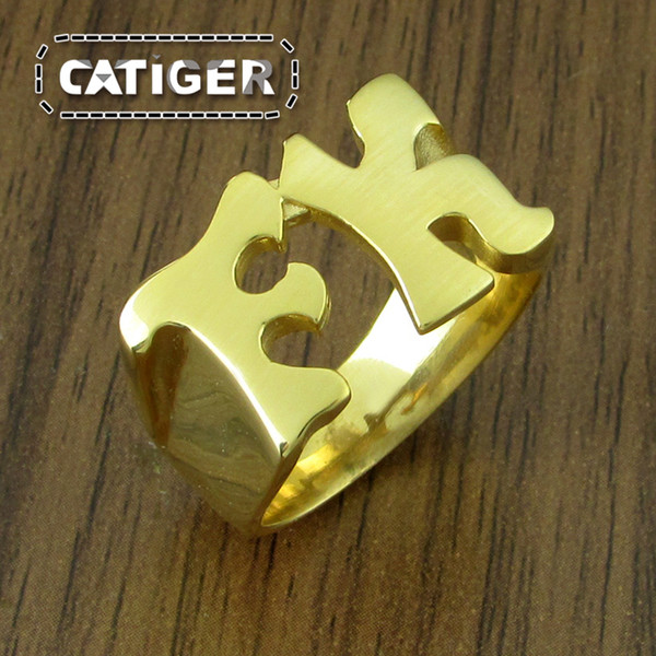 Free Shipping ! Size 8-14 Cool 316L Stainless Steel Gold Plated Middle Finger Letter FK Ring Vintage Ladies Mens Cool Motor Biker Ring