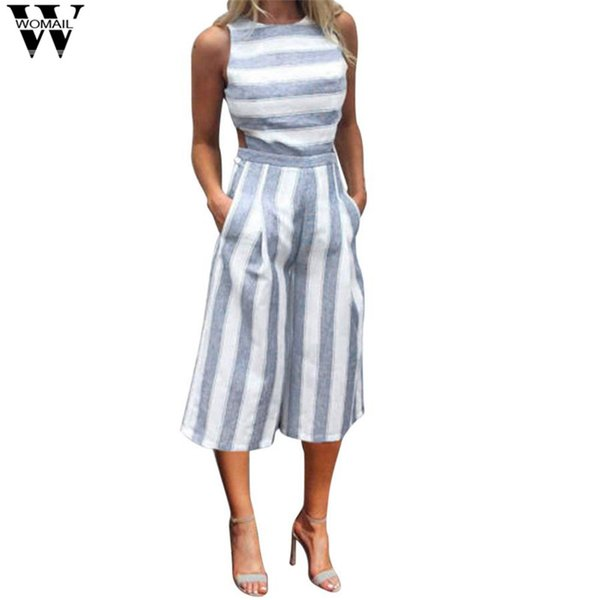 rompers womens jumpsuit Striped Jumpsuit Casual summer Clubwear Wide Leg Pants sexy dropship x3054