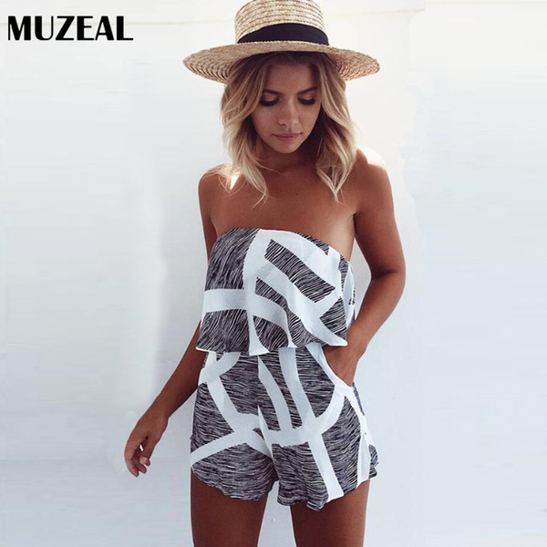 MUZEAL Summer Hot Sexy Strapless Jumpsuits Backless Sleeveless Peplum Woman Sexy Rompers Night Club Young Girls Mini Overalls 17