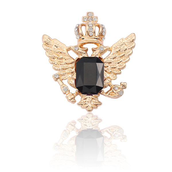 Fashion Gold Silver Crown Angel Wings Brooch Blue Black Acrylic White Rhinestone Brooches For Women Accessories Pin Badge Broche