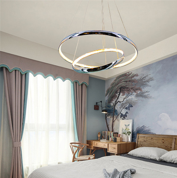 Modern simple stylish 2 rings aluminium K9 58W LED crystal pendant lamp suspended light fixture hanging lamps for dinning room
