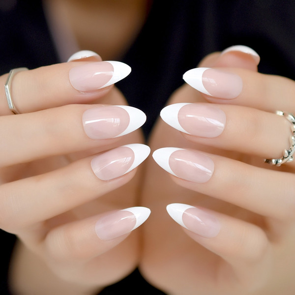 Stiletto Nails Clear White Nude French Fake Nails Pointed False Press on for Girl Sharp End Full Cover Wear Nail Art Tips