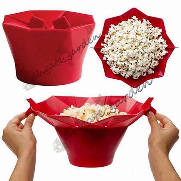 Silicone popcorn bucket Popcorn maker storage container Foldable microwave pop corn box bucket puffed rice food bowl kitchen accessories