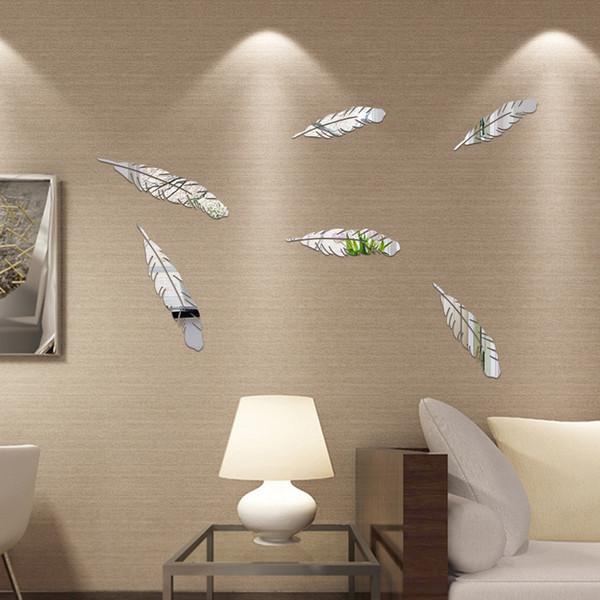 Nuovo 3D Specchio Feather Wall Sticker Specchio Specchio specchio Decorazione staccabile Wallpaper Applique Decorazione della casa di arte