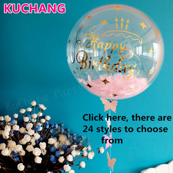 1pack DIY Clear Transparent Bubbles Balloons Stickers Happy 16st 18st 21st 30st Birthday Graduation Party Decoration Supplies