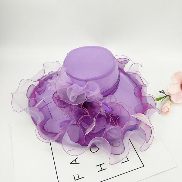 Kadınlar Yaz Şapka Geniş Brim Parti Düğün Şapka Çiçek Tüy Bayanlar Floppy Sun Hat Tatil Plaj Şapkalar