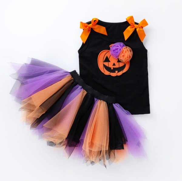 New Halloween Pumpkin Ghosts skull baby girls clothing sets vest top+rainbow color tutu skirts 2 pcs kits girl's holidays party dress up