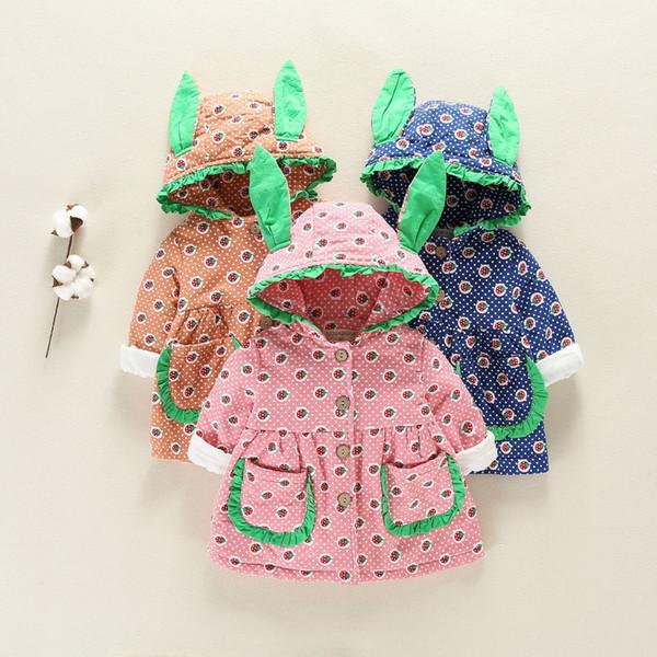 Hiver Chaud Enfants Bébé Enfants Bébés Filles Oreille À Capuche Épaissir Imprimé Princesse Veste Manteau Cardigan Outwear Casacos S7815