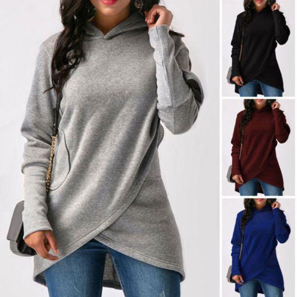 Mode Femmes Casual Manches Longues À Capuche Jumper Pull Sweat Tops Shirt 2018 Nouveau Mode Casual