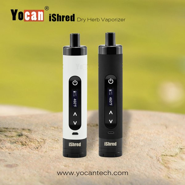 Authentic Yocan iShred Dry Herb Vaporizer Kits E Cigarette Kits 2600mAh Vape Pen With Built-in Herb Grinder LCD Screen Herbal Vaporizer