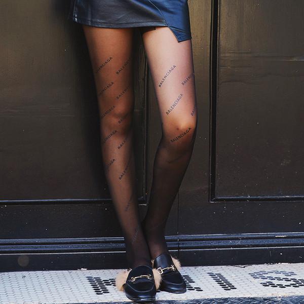 ae3fb0464a4cc Black printed letters women's socks tights pantyhose fashion sexy legs slim  ultra-thin jacquard pantyhose