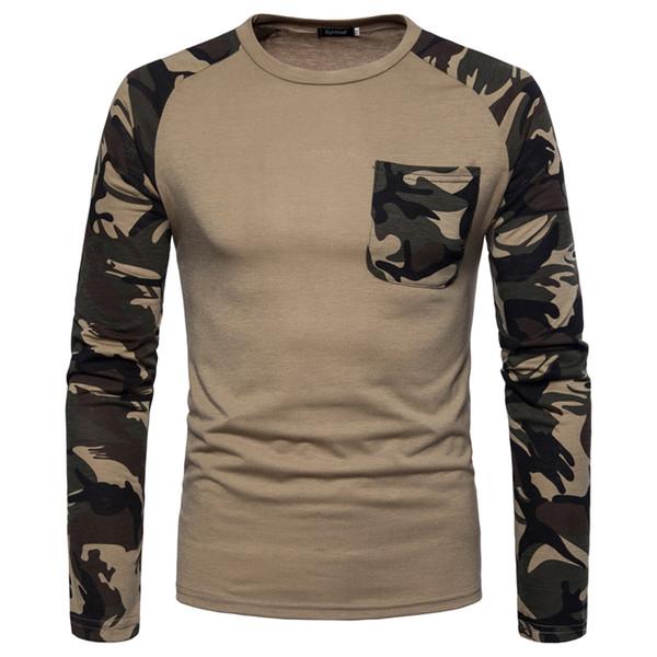 Mens-Herbst-Frühlings-Tarnungs-Designer-Sweatshirt-Armee-Grün-weiße kakifarbige Raglan-Ärmel-Pullover-hohe Straßen-Abnutzung geben Verschiffen frei