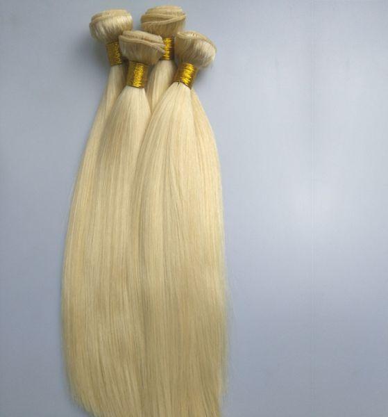 Виргинские человеческие волосы связывают цвет 613 Блондинкы прямой бразильские девственные волосы Unprocessed 3 пачки, 95-100gr One piece