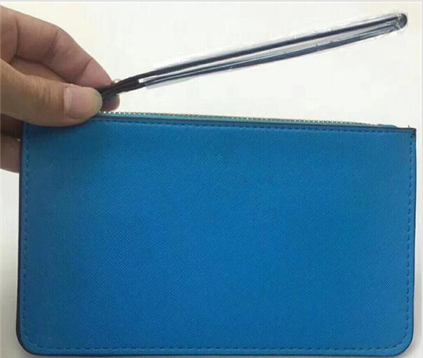 Compras nuevas carteras de marca de diseñador de pulsera mujeres bolsos de embrague cremallera Pu diseño muñequeras 27 colores