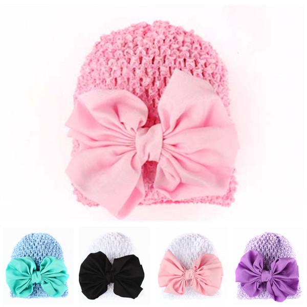 Europa und die Vereinigten Staaten hot print gestrickte Kinder Baby Hut Stretch Baby Hut großen Bogen hohlen Hut 5 Farben