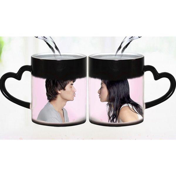 DIY Photo Magic Color Cambiando la taza de café a medida su foto en la taza de té Color negro El mejor regalo para amigos