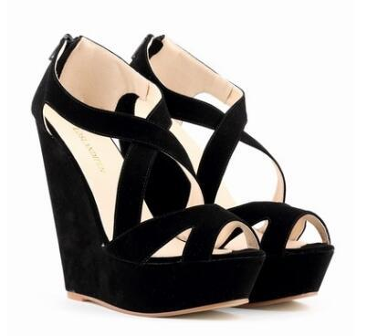 Summer Wedge Glidiator Women Sandals Micro Suede peep toe casual High Heels platform non slip increased wear-resisting for Female Sandals