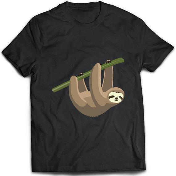 Baskı T Shirt Kısa Noel O-Boyun Kısa Kollu Erkek Hayvan Tembellik Asılı Gömlek
