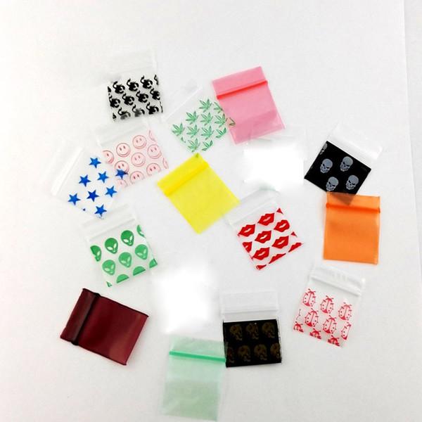 Herb 100 Pcs / Lot 2,5 * 3 cm Small Clear Ziplock stampato Borse Mini Baggies Sacchetto magico sigillo richiudibile in plastica