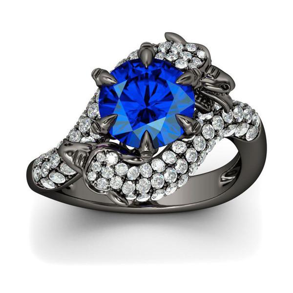 Natural gemstone ring white sapphire wedding birth stone bride ring fashion female ring