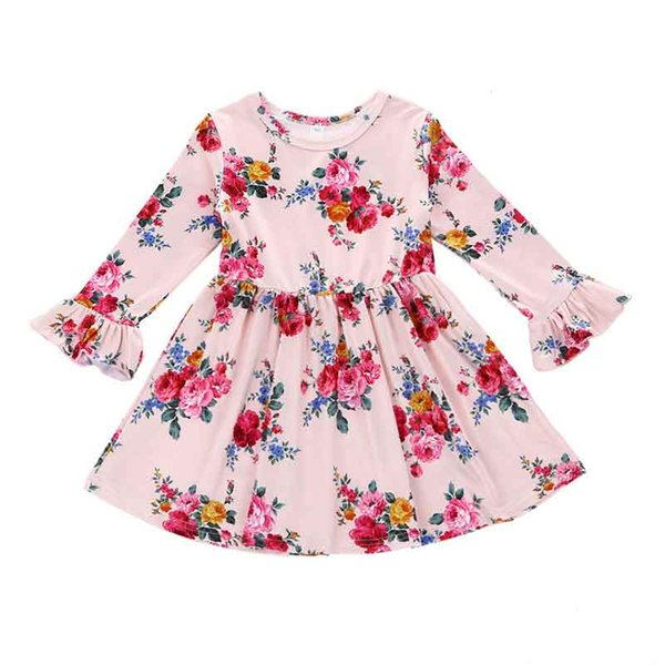 Floral Girls Long Sleeve Dress Cute Little Girls Boutique Clothing Ruffle Flower Pattern Children Clothes Spring Girls Clothes